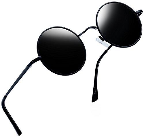 Joopin Runder Retro polarisierte Sonnenbrille Männer Frauen Vintage Steampunk Sonnenbrille(Schwarzes Grau)