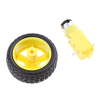 MagiDeal 1 Set Smart Car Robot Tire Wheel with DC 3-6v Gear Motor for Arduino DIY Robot