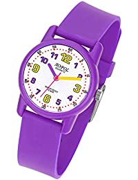 Relojes Niños, Reloj de Pulsera para Niños y Niñas Impermeable Reloj Deportivo de Cuarzo (Blanco Lila)