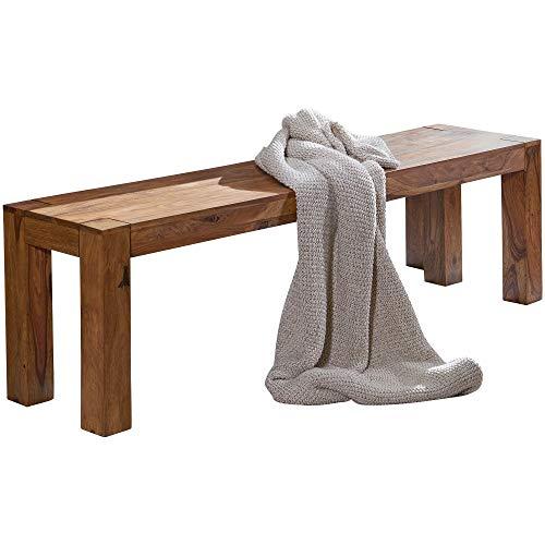FineBuy Esszimmer Sitzbank Massiv-Holz Sheesham 160 x 45 x 35 cm Design Holz-Bank Natur-Produkt Küchenbank Landhaus-Stil dunkel-braun Bank 3-Sitzer für innen ohne Rücken-Lehne Echt-Holz unbehandelt