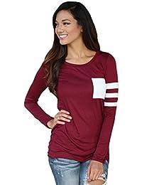 RETUROM nuevo otoño para mujer de manga larga de cuello redondo Camiseta empalmado tapas de la blusa Camiseta