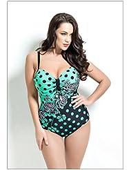 Mode européenne sexy backless haute fourche acier plaque numérique impression une pièce maillot de bain