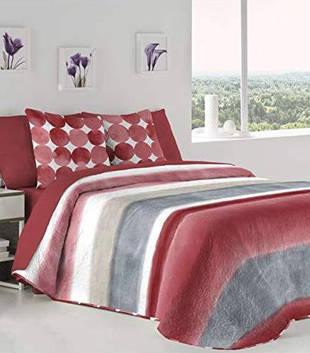 Fundeco - Colcha Bouti ENORA cama 90 cm - Color Rojo