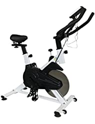 OLYMPIC S001 - Indoor Cycling Exercise Bike, Direct Belt Driven 11kg Flywheel with Adjustable Resistance, 3-Piece Crank, 6-Function Monitor, Ergonomic Handlebars with Heart Rate Sensors, Fully Adjustable Seat, Built In Wheels, Spin bike