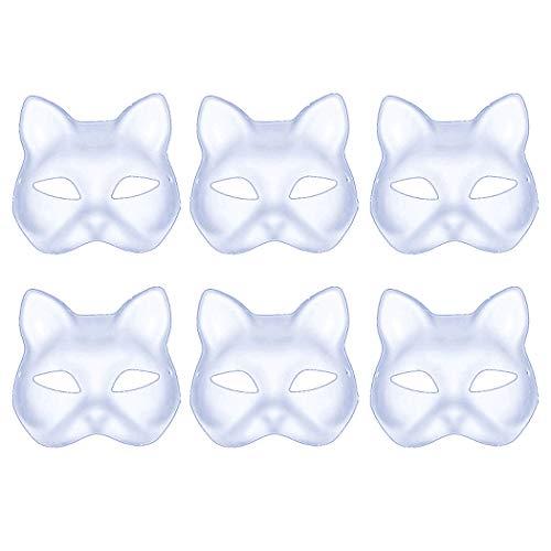 Coxeer Masken Weiß, 6 Stück DIY Masken Maskerade Maske Halbe Gesichtsmaske Papiermaske Maske Unbemalt Masken zum Bemalen Kinder Venezianischen Karneval für Halloween Cosplay Kostüm