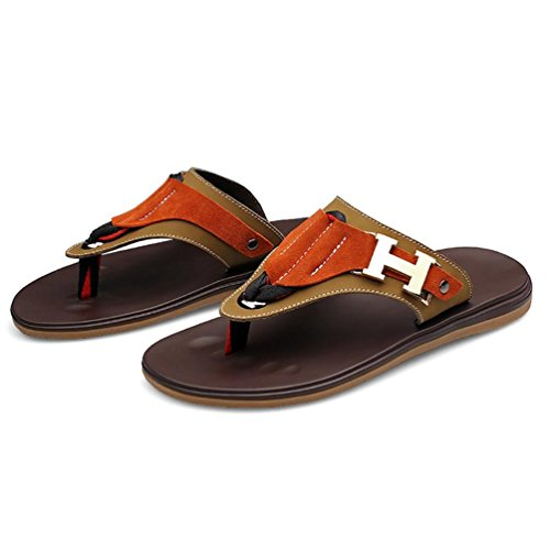SHANGXIAN Summer Flip Men Flops Sandales en cuir brown