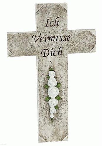 31cm Kreuz aus Steinharz Grabschmuck + Inschrift Grabstein Trauer Grab (Preise Grabstein)