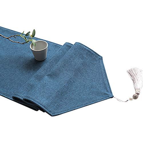 WYQ Blauer Tischläufer mit Quasten, Baumwollleinwand Vintage Design Dekor Ideal für Familienessen, Versammlungen, Partys, alltäglichen Gebrauch 6 Größen erhältlich Table Runner
