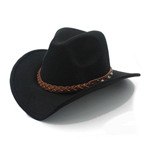 Männer Western Für Gürtel Leder (Ruanyi 100% Wolle Autume Winter Frühling Western Cowboy Hut für Womem Männer Breiter Krempe Cowgirl Jazz Cap mit Leder Toca Sombrero Cap Punk Gürtel ( Farbe : 1 , Size : 57-58CM ))