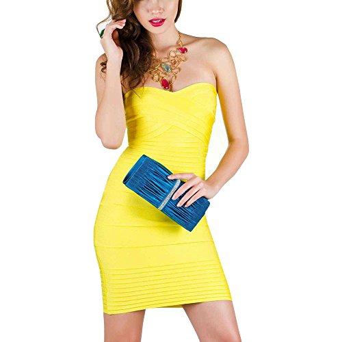 HLBandage Women's Sexy Strapless Mini Bodycon Bandage Dress(XS,Giallo)