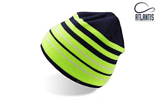 SPORT BEANIE NAVY/VERDE FLUO COOLMAX LONG BEANIE HAT cuffia lunga cappello BERRETTO IN MAGLIA