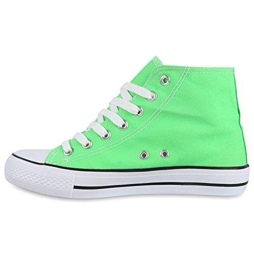 Freizeit Damen Sneakers High Canvas Schuh Hellgrün