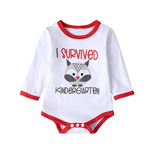 Livoral Säuglingsbaby Mädchen Lange Hülsen Karikatur Tierbuchstabe Spielanzug Bodysuit Kleidung(#1 Weiß,0-3 Monate)