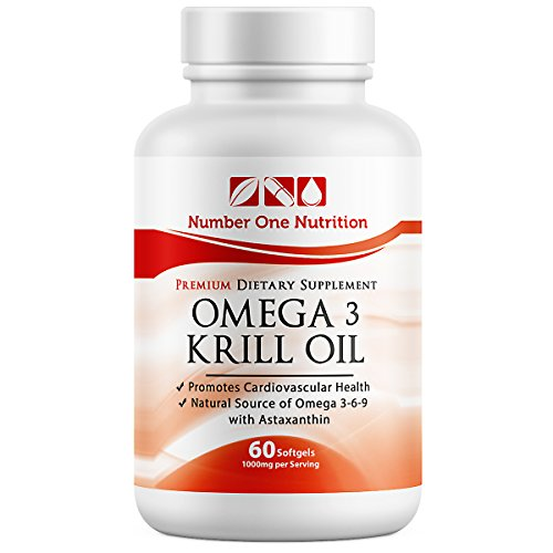 Number One Nutrition #1 Recommended Omega 3 Krill Oil (1000 Mg Per Serving, 500 Mg Per Capsule)
