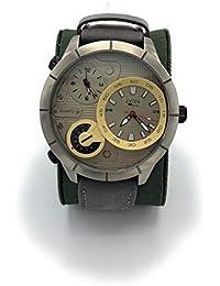 Avion Militar Reloj Aviador Acciaio Reloj de Pulsera para Hombre de Cuarzo con Esfera Grande y