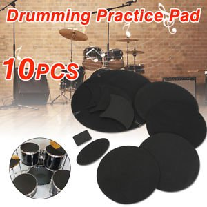 10Pcs/Set Rubber Foam Bass Snare Drum Sound Off Quiet Mute Silencer Practice Pad - Drum Mute Bass
