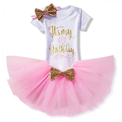 Prinzessin Kleid Baby Neugeborenes Mädchen 1./2./3 Geburtstag Kleidung Set 3 Stück Romper + Rock Tütü + Stirnband Geschenk Verkleidung Rosa/0-6Monate (Baby-mädchen-kleidung 2 Stück)