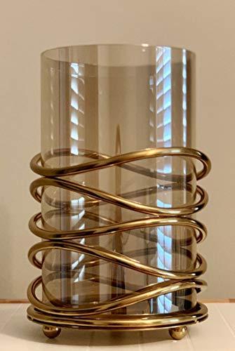 Wand-hurrikan-kerze (Decozen Kerzenhalter für Tisch für Wand Deko Kerzenhalter für konische Kerzen Deko Kerzenhalter für Wohnzimmer Large Gold)