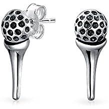 Modern 925 Sterling Silver Sports Golf Ball Stud Earrings