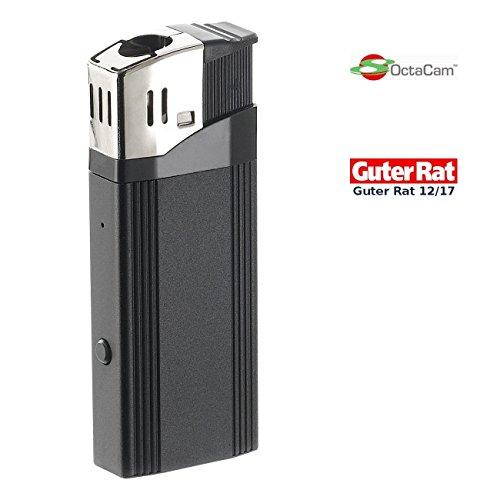OctaCam Feuerzeug Kameras: Full-HD-Videokamera MC-1920, USB-Zigarettenanzünder, Feuerzeug-Design (Spy Cam Feuerzeug)