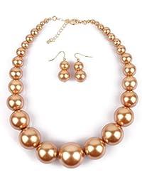 65a801188e67 Collar y pendientes bisutería conjunto de boda Collar de perlas sintéticas  de primera calidad para la
