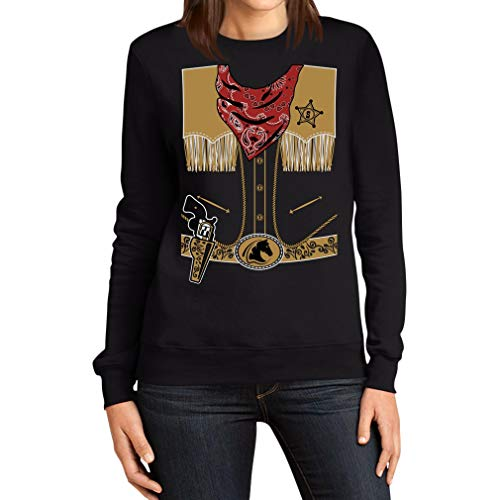Mega Stylishes Cowboy Kostüm Karneval Sheriff Frauen Sweatshirt X-Large Schwarz