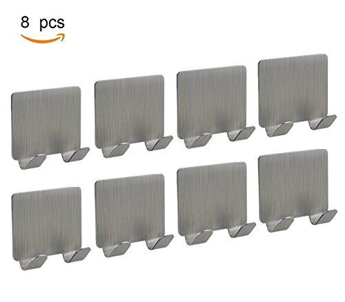 Joyoldelf Selbstklebende Handtuchhaken Haken Wasserdicht 3M Badezimmer WC Traceless Hat Kleiderhaken Schiene Aufbewahrung Kleiderbügel Racks für Bad Küche, Doppelter Haken, 8 Stück, Edelstahl