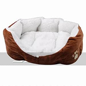 SODIAL(R) Luxury Unique Warm Indoor Soft Pet Dog Cat Bed + Cushion Dog Puppy Sofa House Bed with Mat Supplies L Brown