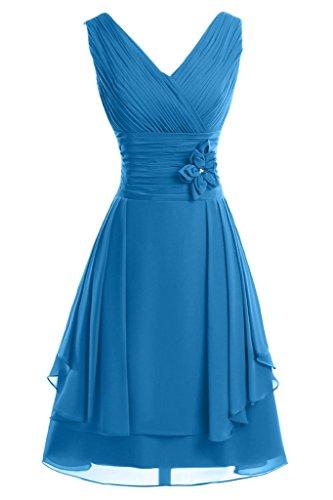 ivyd ressing Femme col V avec fleurs ligne A court Demoiselle d'Honneur Prom robe robe du soir Bleu foncé