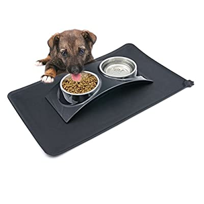 SUPER DESIGN SuperDesign Rainbow Collection,Removable Stainless Steel Double Bowl Set,Pack with Silicone Mat,for Dog or Cat 1 Cup by SuperDesign
