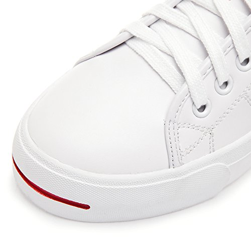 Shenn Femme Low Top Brillant Confortable Cuir Baskets Chaussures Blanc&Rouge