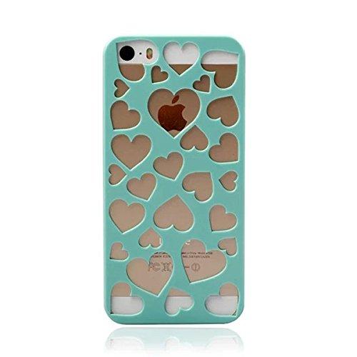 PC en forme de coeur Pierced Case Protection Motif Pour iPhone 5 vert
