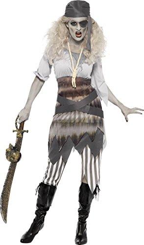 Smiffys, Damen Geister Schiffbrüchige Süße Kostüm, Kleid, Leggings, Gürtel, Augenklappe und Kopftuch, Größe: S, 24363