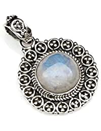 Kettenanhänger Medaillon Silber 925 Sterlingsilber Regenbogen Mondstein weiß Ste