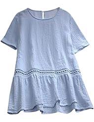Camiseta Suelta de Color sólido para Mujer Camiseta de Manga Corta O-Cuello Algodón y Lino Tops Ocasionales