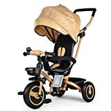 Fascol Tricycle Evolutif Velo Bébé Pliable Poussette avec Canne et Roues Silencieuses pour Enfant 6 Mois à 5 Ans, Or
