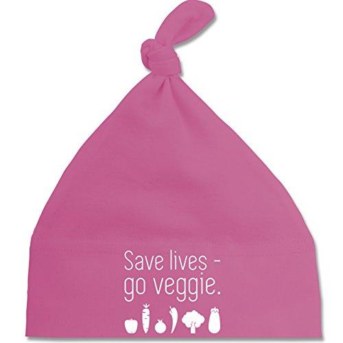 up-to-date-baby-save-lives-go-veggie-unisize-pink-bz15-baby-mutze-mit-einfachem-knoten-als-geschenki