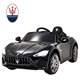 Uenjoy Maserati 12V Voiture Electrique pour Enfants avec Télécommande, MP3, lumière,Noir