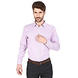 Big Tree High Quality Fabric Cotton Stripe Shirt (Size Medium) (Color-Purple)