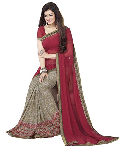Sarees (Pramukh Saris Women\'s Clothing designer Wear Low Price Sale Offer buy online in Red Georgette Material New Printed Free Size beautiful Saree For Women Party Wear Offer Designer Sarees)