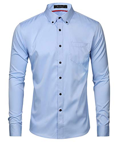 Kuson Herren Business Hemd Slim Fit für Freizeit Hochzeit Reine Farbe Hemden Langarmhemd Himmelblau L