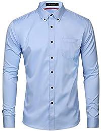 Kuson Herren Hemd Regular fit Für Business Hochzeit Freizeit Bügelleicht Reine Farbe Hemden Langarmhemd