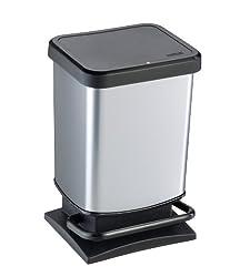 Rotho Paso Mülleimer 20 l mit geruchdichtem Deckel, Kunststoff (PP), silber metallic, 20 Liter (29,3 x 26,6 x 45,7 cm)