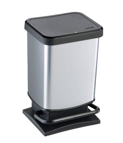 Rotho Paso Mülleimer 20 l mit geruchdichtem Deckel, Kunststoff (PP), silber metallic, 20 Liter (29,3 x 26,6 x 45,7 cm) (Silber Mülleimer)