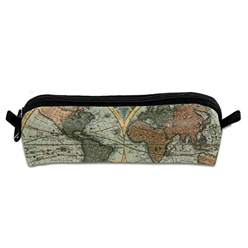 Print Vintage Clutch (Earth Vintage Old Map World Travel Makeup Train Bag Orgaizer Storage Bag Toiletry Pouch Cluth Bag)