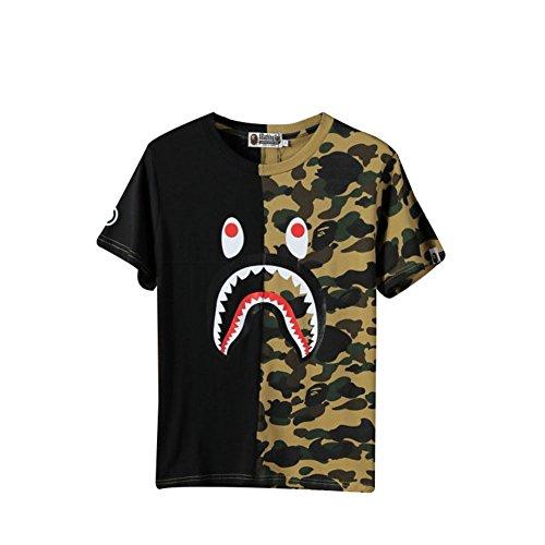 BOMOVO BAPE Baumwolle Drucken Camouflage Shark T-Shirt