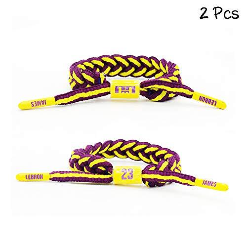 Lorh's store Basketball Team Sterne Armbänder Hand weben verstellbare Sport Schnürsenkel Armband (① Lebron James)