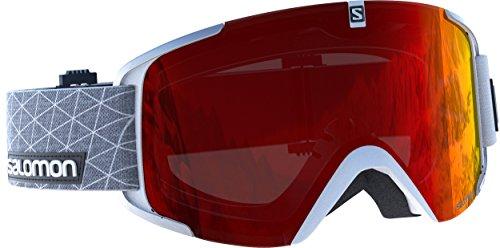 Salomon Unisex Skibrille für verschiedenste Wetterverhältnisse, Rote Multilayer Scheibe (auswechselbar), Airflow-System, weiß, X View, L39903000