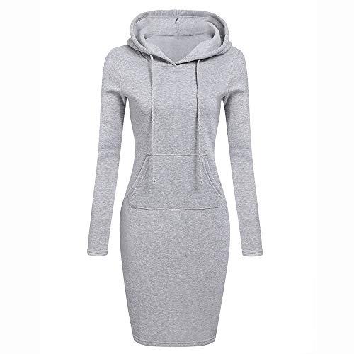 TianWlio Kleid Damen Langarm Solide Patchwork O Hals Lässig Langes Kapuzenpulli Kleid Grau M