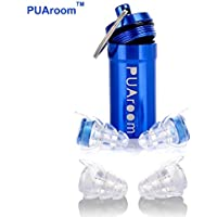 PUAroom MusicPro High Fidelity Ear Plugs, 2 Pairs Reusable Soft Silicone Earplugs with Free Aluminium Container, Noise Canceling Ear Plugs for Musicians, Concert, Festival, Nightclub, Drummer, Percussion DJs, Motorcycles, Travel ( Blue)
